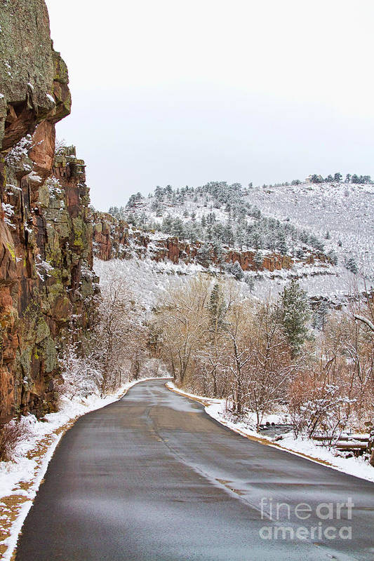 Red Rocks Art Print featuring the photograph Red Rock Winter Drive by James BO Insogna