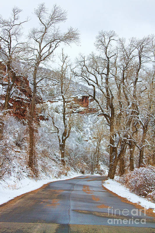 Winter Art Print featuring the photograph Red Rock Winter Road Portrait by James BO Insogna