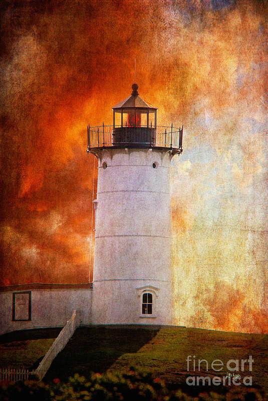 Lighthouse Art Print featuring the photograph Red Sky At Morning - Nubble Lighthouse by Lois Bryan