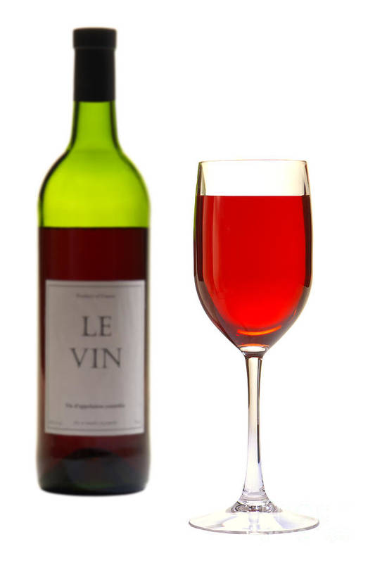 Wine Art Print featuring the photograph Red Wine Bottle And Glass by Olivier Le Queinec