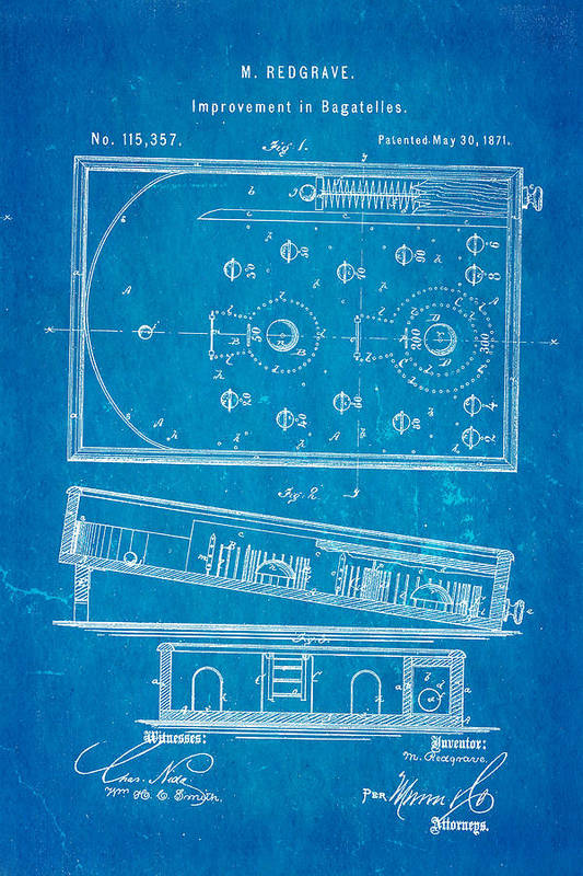 Home Art Print featuring the photograph Redgrave Bagatelle Patent Art 1871 Blueprint by Ian Monk