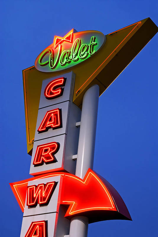 Car Wash Art Print featuring the photograph Retro Car Wash Sign by Norman Pogson