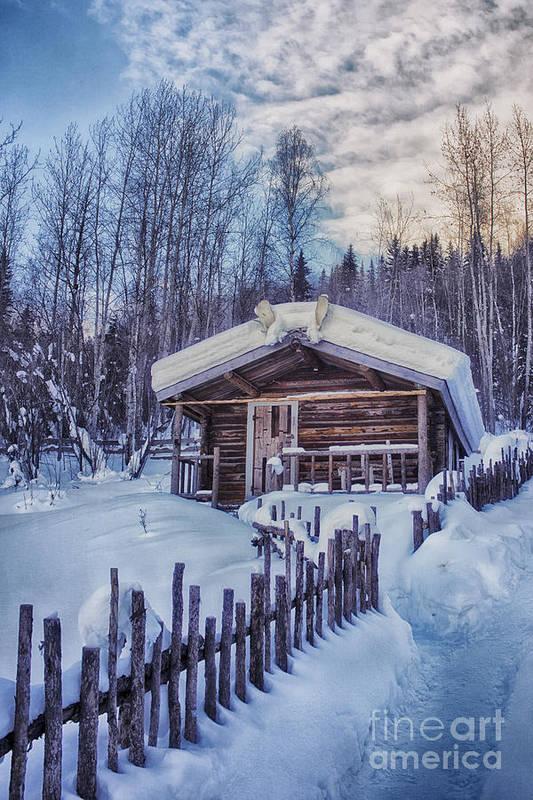 Robert Service Art Print featuring the photograph Robert Service Cabin Winter Idyll by Priska Wettstein