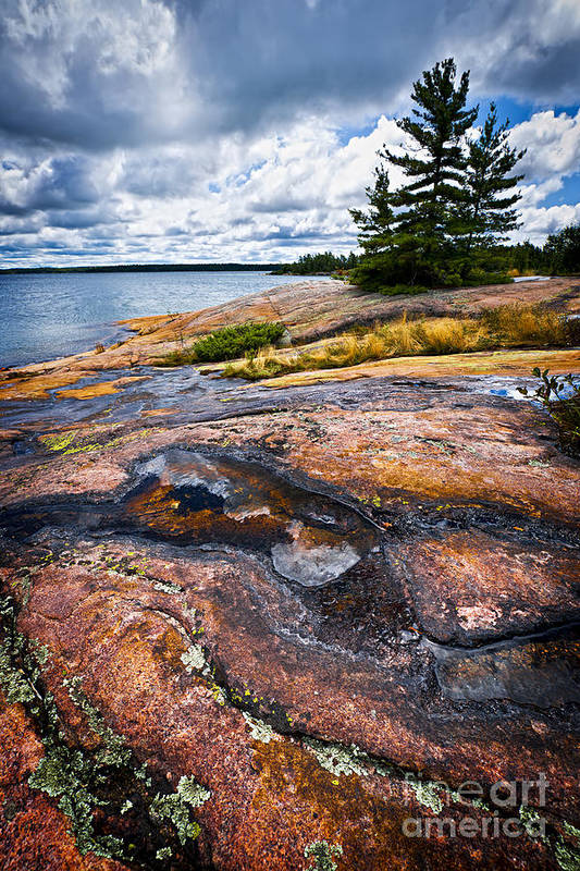 Georgian Art Print featuring the photograph Rocky Shore Of Georgian Bay by Elena Elisseeva