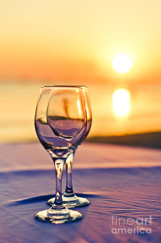 Wine Print featuring the photograph Romantic Sunset Drink With Wine Glass by Tuimages