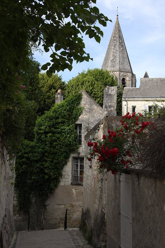 Narrow Street Art Print featuring the photograph Rose Lane In Loches by Christiane Schulze Art And Photography