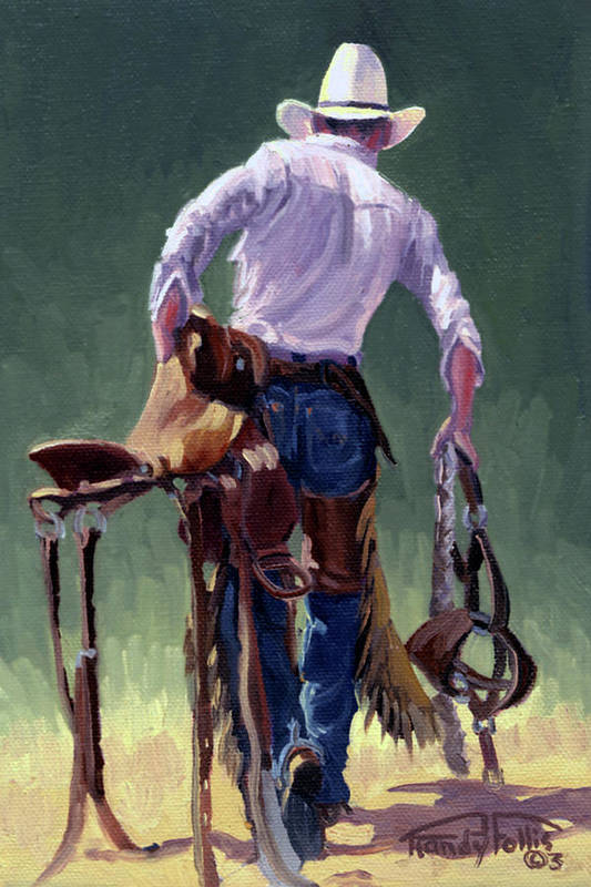 Cowboy Art Print featuring the painting Saddle Bronc Rider by Randy Follis