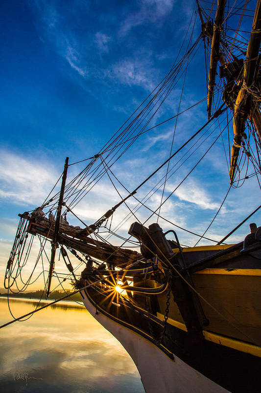 Tall Ship Art Print featuring the photograph Sailboat Sunrise by Robert Bynum