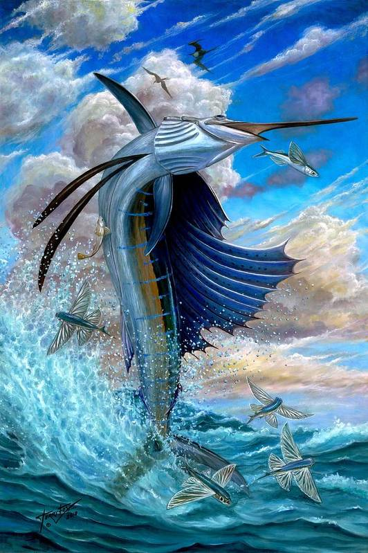 Sailfish Art Print featuring the painting Sailfish And Flying Fish by Terry Fox