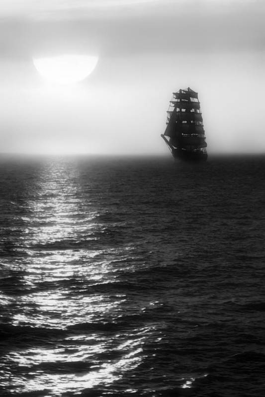 Sailing Ship Art Print featuring the photograph Sailing Out Of The Fog - Black And White by Jason Politte