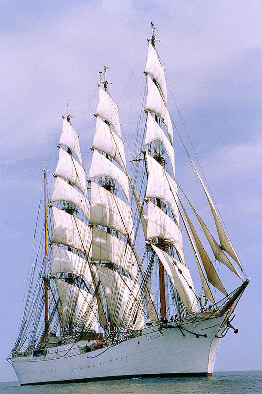 Boat; Outdoors; Outside; Sail; Sailing Ship; Sails; Ship; Vessel; Water; Waterway & Maritime Transport Art Print featuring the photograph Sailing Ship by Anonymous
