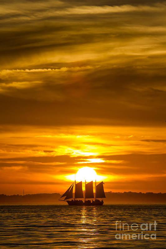 Sailing Yacht Schooner Pride Sunset Art Print featuring the photograph Sailing Yacht Schooner Pride Sunset by Dustin K Ryan