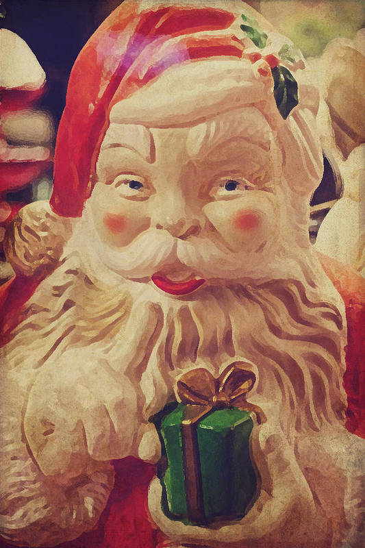 Santa Art Print featuring the photograph Santa Whispers Vintage by Toni Hopper