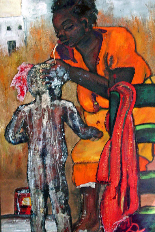 Mom Bathing Boy Art Print featuring the painting Saturday Night Bath by Peggy Blood