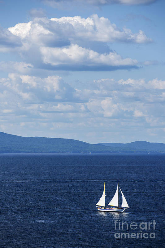 Maine Print featuring the photograph Schooner On The Bay by Diane Diederich