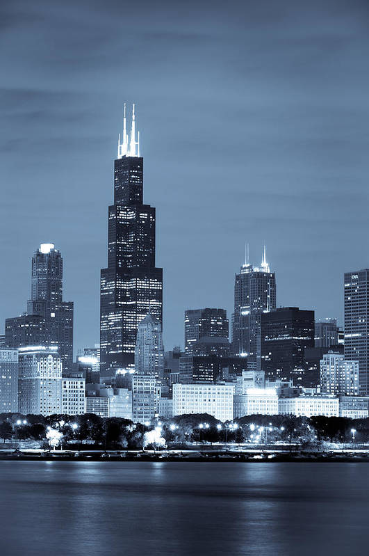 Chicago Skyline Art Print featuring the photograph Sears Tower In Blue by Sebastian Musial