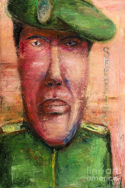 Guard Art Print featuring the painting Security Guard - 2012 by Nalidsa Sukprasert