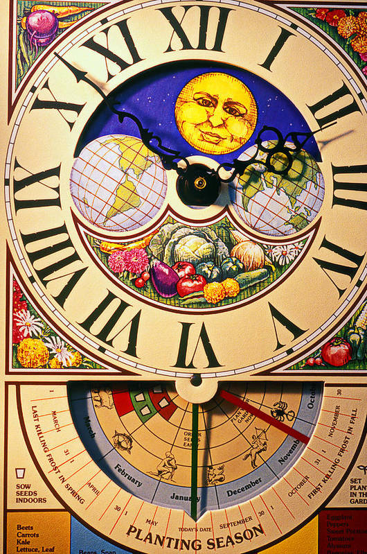 Clock Art Print featuring the photograph Seed Planting Clock by Garry Gay