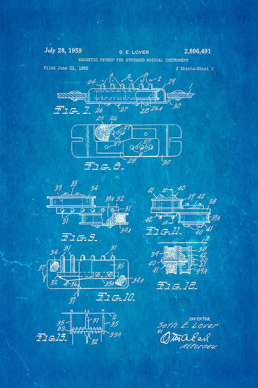 Famous Art Print featuring the photograph Seth Lover Gibson Humbucker Pickup 2 Patent Art 1959 Blueprint by Ian Monk