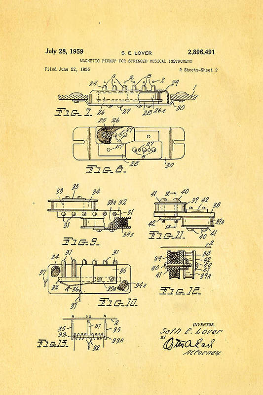 Famous Art Print featuring the photograph Seth Lover Gibson Humbucker Pickup 2 Patent Art 1959 by Ian Monk