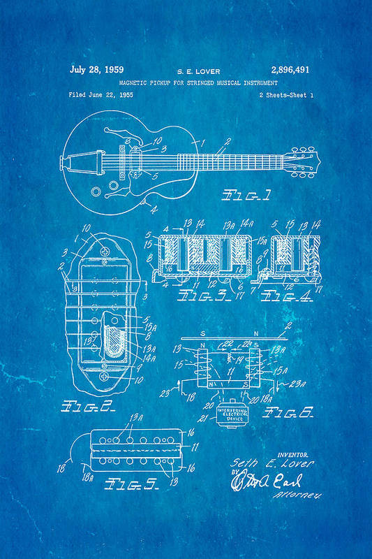 Famous Art Print featuring the photograph Seth Lover Gibson Humbucker Pickup Patent Art 1959 Blueprint by Ian Monk