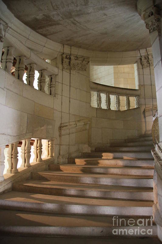 Staircase Art Print featuring the photograph Shadows On Chateau Chambord Stairs by Christiane Schulze Art And Photography