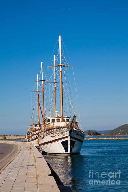 Lefkada Art Print featuring the photograph Ships At Lefkada by Gabriela Insuratelu