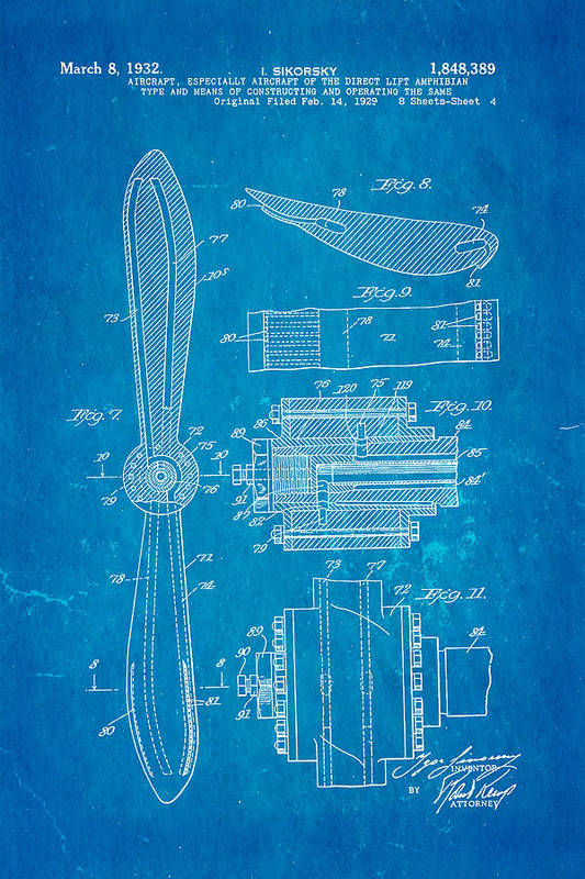 Sikorsky Helicopter Patent Art 4 1932 Blueprint Art Print
