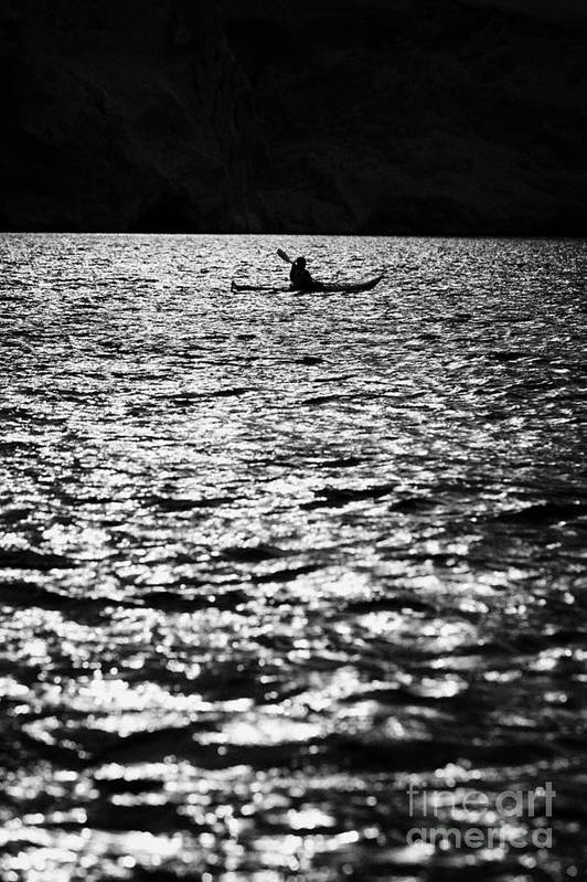 People Art Print featuring the photograph Single Female Sea Kayaker Near Glacier In Port Lockroy Antarctica by Joe Fox