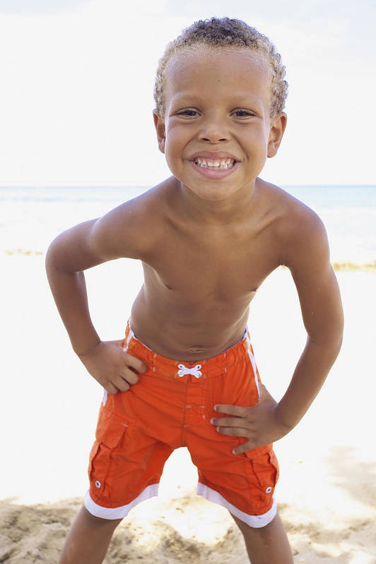 Beach Art Print featuring the photograph Smiling Boy On Beach by Kicka Witte