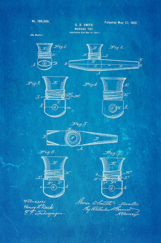 Famous Art Print featuring the photograph Smith Kazoo Musical Toy Patent Art 1902 Blueprint by Ian Monk
