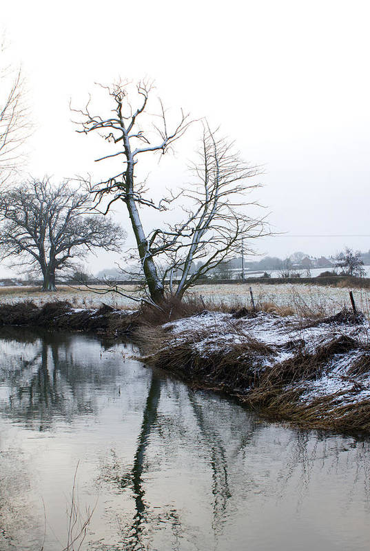 Beautiful Art Print featuring the photograph Snow Scene With River Running Through by Fizzy Image