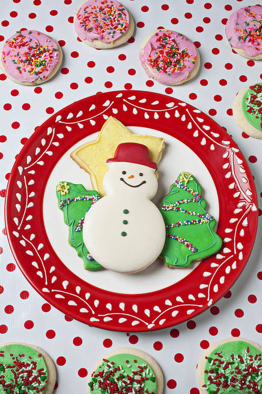 Cookies Art Print featuring the photograph Snowman Cookie Plate by Garry Gay