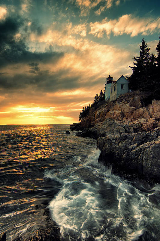 Bass Harbor Lighthouse Print featuring the photograph Solitude by Chad Tracy
