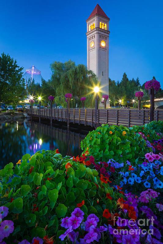 America Art Print featuring the photograph Spokane Clocktower By Night by Inge Johnsson