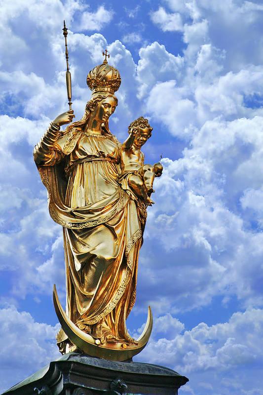Marys Art Print featuring the photograph St Mary's Column Marienplatz Munich by Christine Till