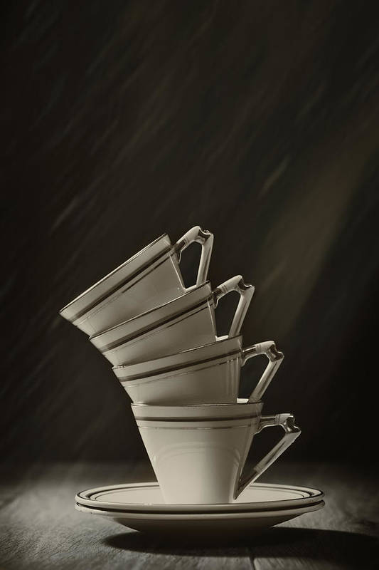 Stack Art Print featuring the photograph Stack Of Cups by Amanda Elwell