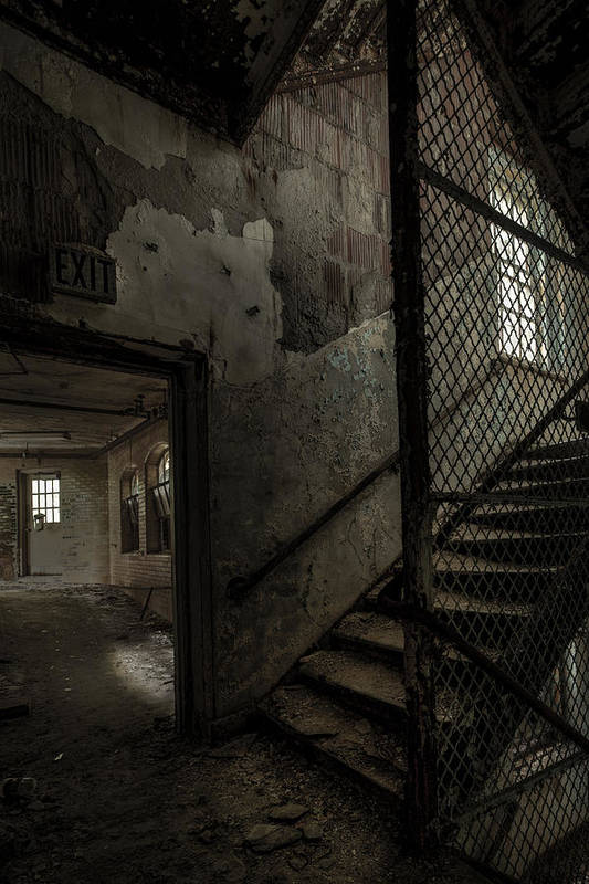 Old Stairs Art Print featuring the photograph Stairs And Corridor Inside An Abandoned Asylum by Gary Heller