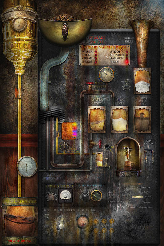 Steampunk Print featuring the digital art Steampunk - All That For A Cup Of Coffee by Mike Savad