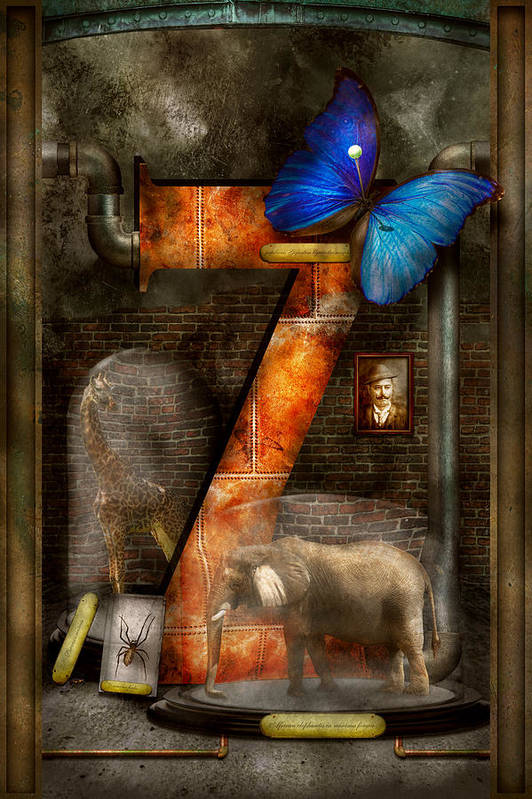 Self Art Print featuring the photograph Steampunk - Alphabet - Z Is For Zoology by Mike Savad
