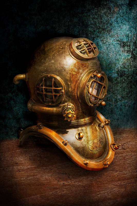 Hdr Art Print featuring the photograph Steampunk - Diving - The Diving Helmet by Mike Savad