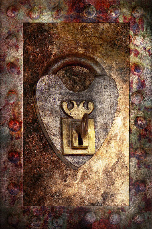 Locksmith Print featuring the photograph Steampunk - Locksmith - The Key To My Heart by Mike Savad