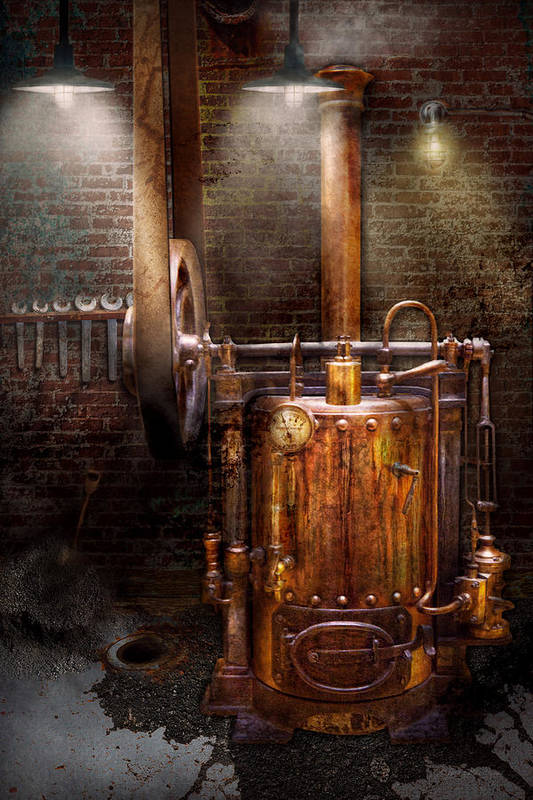 Modern Art Print featuring the photograph Steampunk - Powering The Modern Home by Mike Savad