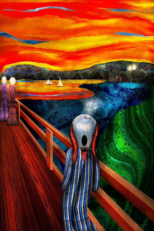 Self Art Print featuring the digital art Steampunk - The Scream by Mike Savad