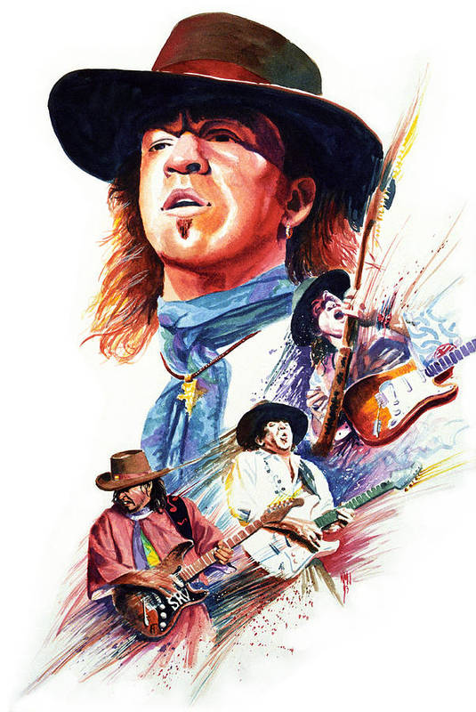 Guitarists Art Print featuring the painting Stevie Ray Vaughn by Ken Meyer