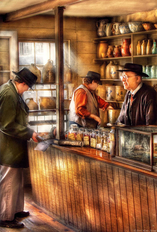 Savad Art Print featuring the photograph Store - Ah Customers by Mike Savad