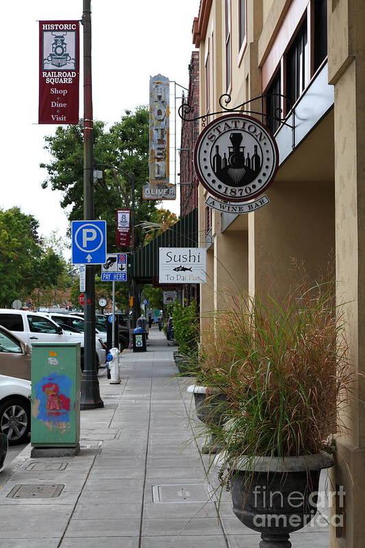 Santa Rosa Art Print featuring the photograph Storefronts In Historic Railroad Square Area Santa Rosa California 5d25806 by Wingsdomain Art and Photography
