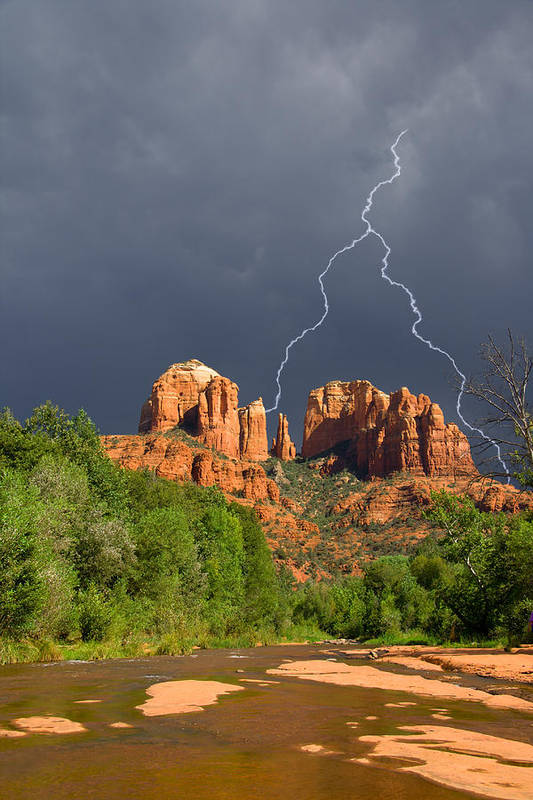 Cathedral Rock Art Print featuring the photograph Storm Over Cathedral Rock by Alexey Stiop