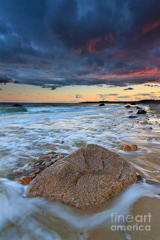 Storm Clouds Art Print featuring the photograph Stormy Sunset Seascape by Katherine Gendreau