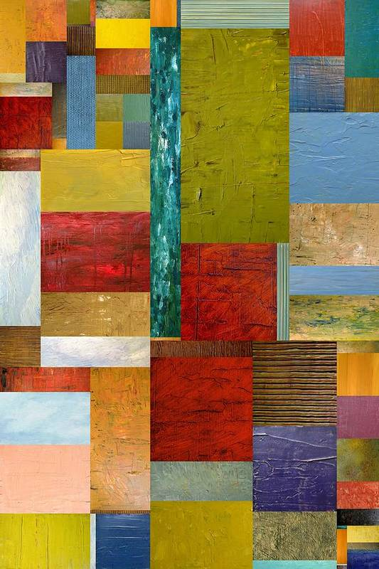 Textural Print featuring the painting Strips And Pieces Lll by Michelle Calkins